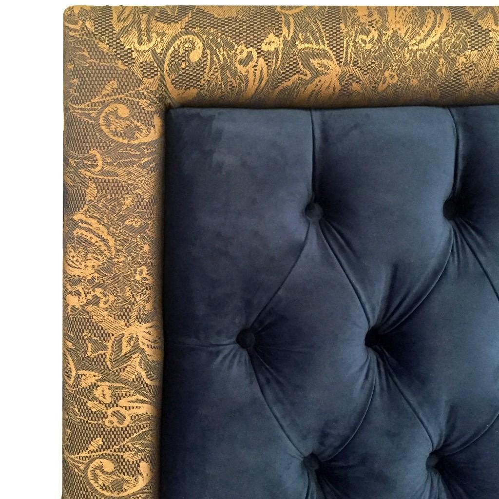 Fabricarte | Cabecera Carlier Queen Size ·Jacquard y Terciopelo Marino