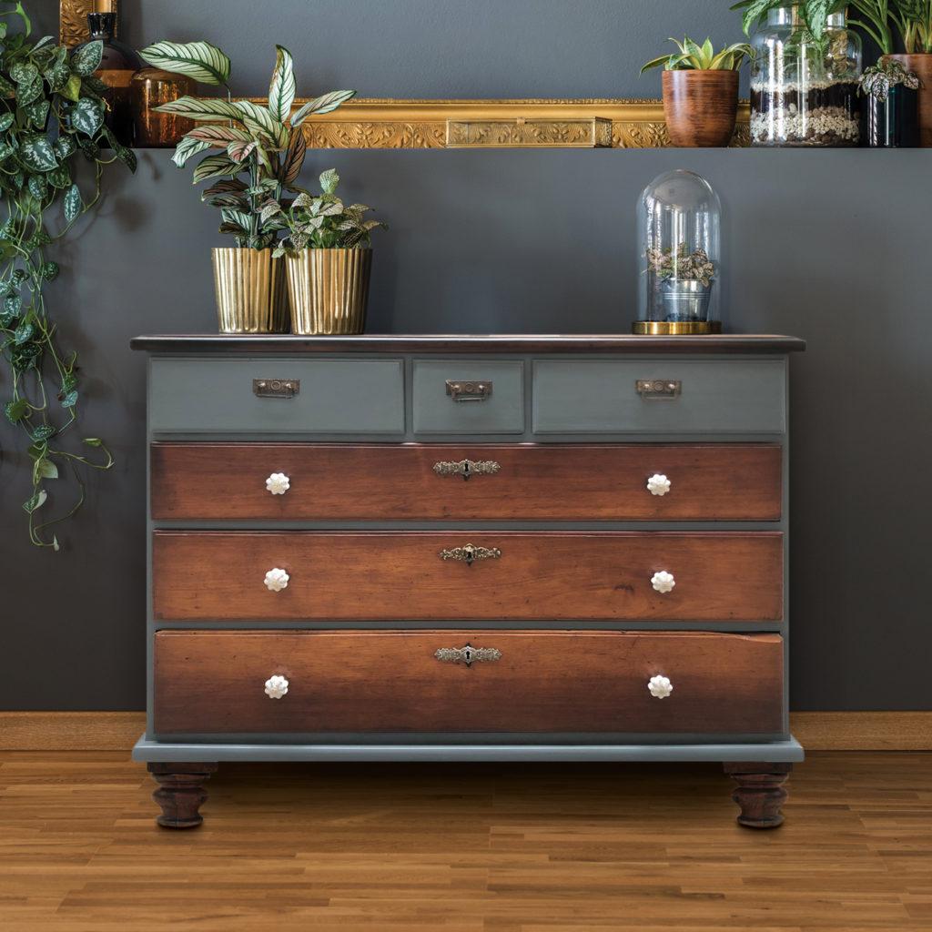 comoda_buffet_cajonera_mueble_antiguo_vintage_restaurado_gris_caoba_madera_principios_siglo20_0